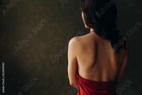 Naked shoulder blades of a girl in a red dress on a background of green wall Canvas Print