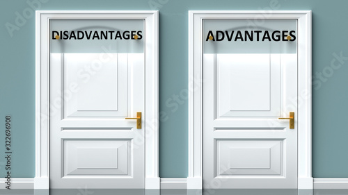 Photo Disadvantages and advantages as a choice - pictured as words Disadvantages, adva