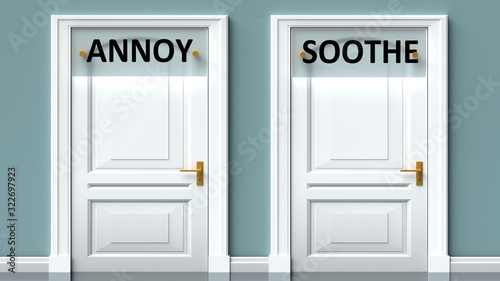 Annoy and soothe as a choice - pictured as words Annoy, soothe on doors to show Wallpaper Mural
