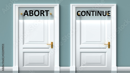 Photo Abort and continue as a choice - pictured as words Abort, continue on doors to s