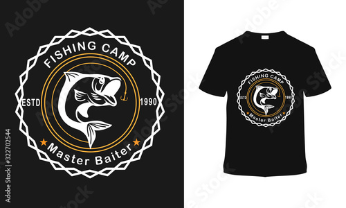 Fishing Camp t shirt design, template, vector, vintage, apparel, typography Canvas Print
