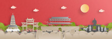 Panorama View Of Xian City Skyline With World Famous Landmarks Of China In Paper Cut Style Vector Illustration.