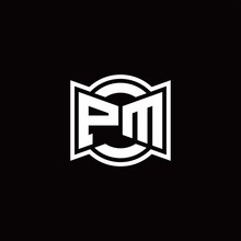 PM Logo Monogram With Ribbon Style Circle Rounded Design Template
