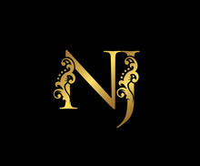 Initial Letter N And J, NJ, Gold Logo Icon, Classy Gold Letter Monogram Logo Icon Suitable For Boutique,restaurant, Wedding Service, Hotel Or Business Identity.