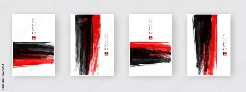 Fototapeta vector black red ink brush stroke. Abstract illustration eps10