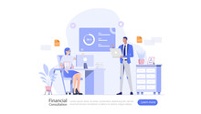 Financial Consultation Vector Illustration Concept , Suitable For Web Landing Page, Ui, Mobile App, Editorial Design, Flyer, Banner, And Other Related Occasion