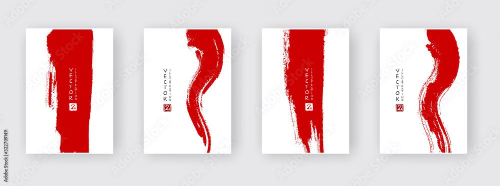 Fototapeta Red ink brush stroke on white background.