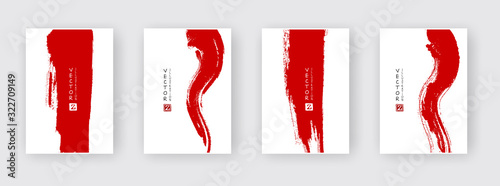 Fototapeta Red ink brush stroke on white background. obraz