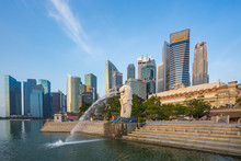 Blue Nice Sky With Merlion Park And Landmark Buidings In Singapore City, Singapore