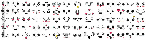 Kawaii cute faces, big set. Manga style eyes and mouths. Funny cartoon japanese emoticon in in different expressions. Expression anime character and emoticon face illustration. Background, Wallpaper. - 322709924