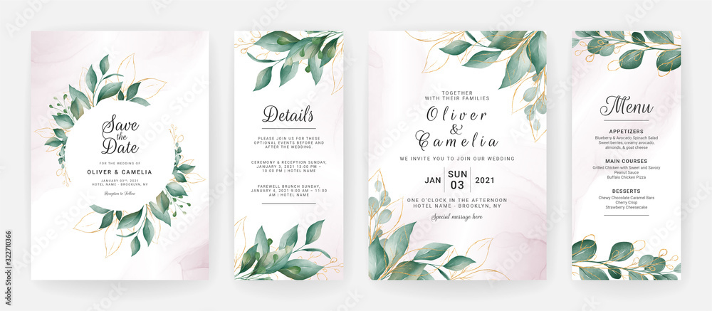 Wedding invitation card template set with watercolor gold leaves decoration. Floral background for save the date, greeting, menu, details, poster, cover, etc. Botanic illustration vector