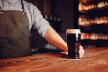Barman Hold Dark Cold Fresh Be...