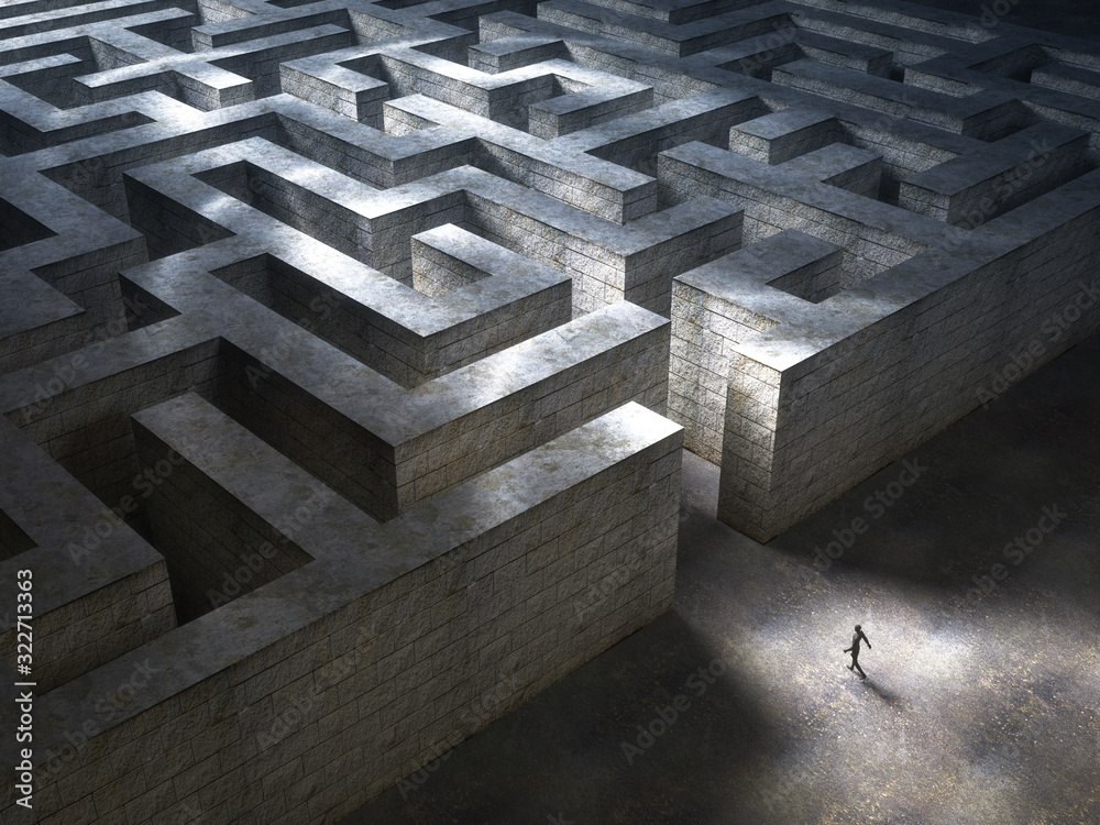 Fototapeta Man entering a huge mysterious maze. 3D Rendering