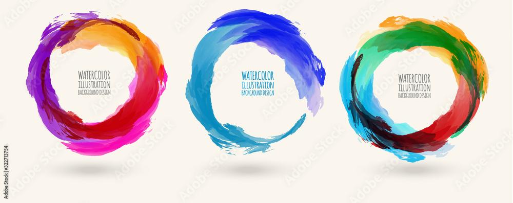 Fototapeta Watercolor circle texture set. Vector circle elements