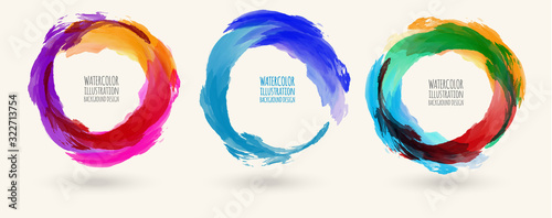 Fototapeta Watercolor circle texture set. Vector circle elements obraz