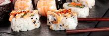 Sushi Set Close-up Panorama Wi...