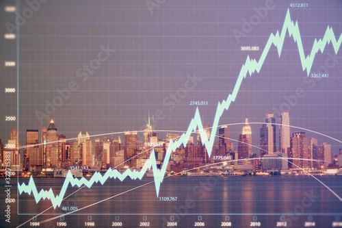 Fototapeta Financial graph on night city scape with tall buildings background double exposure. Analysis concept. obraz
