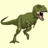 Fototapeta Dinusie - Green dinosaur picture on a white background