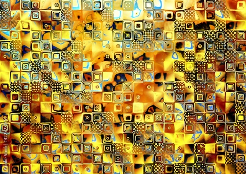 Obrazy Gustav Klimt  blue-and-gold-chess-abstract-pattern-gold-mosaic