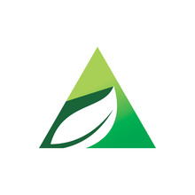Green Nature Leaf Triangle Logo Design