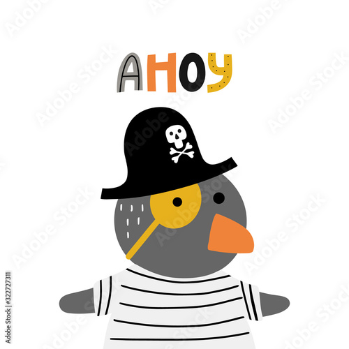 Cute penguin with word ahoy Canvas Print