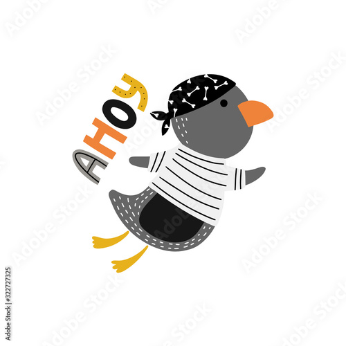 Penguin with word ahoy for kids Canvas Print