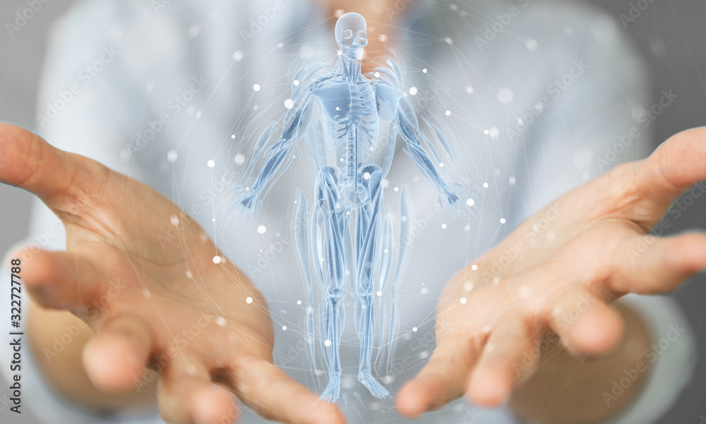 Fototapeta Woman using digital x-ray human body holographic scan projection 3D rendering
