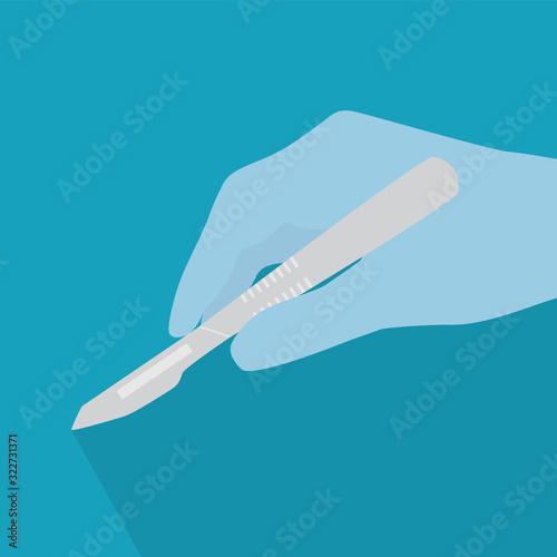 Leinwand Poster hand in medical glove holding a scalpel icon- vector illustration