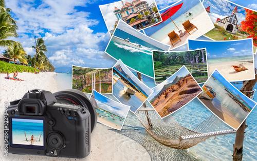 Fotografie, Obraz collage de photos de Maurice, concept voyages et tourisme