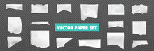 Ripped Torn Paper Realistic Set