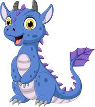 Cartoon Blue Dragon On White B...