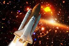 Rocket In The Deep Space. Gala...