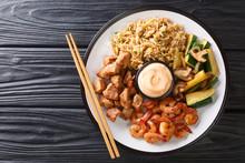 Serving Hibachi Of Rice, Shrim...