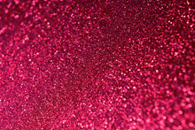 Hot Pink Shine Glitter Background. Selective Focus. Beautiful Sparkle Abstraction. Glamour Bokeh Effect. For Party, Holidays, Celebration, Valentine's Day Cards.