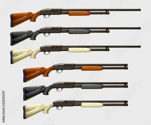 Fototapeta realistic shotguns set on white obraz