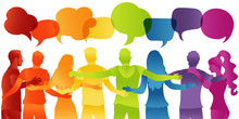 People Diverse Culture.Dialogue And Friendship Silhouette Group Of Multiethnic People.Communication Speak Discussion.Crowd Talking.Social Network.Community.Speech Bubble Rainbow Colors