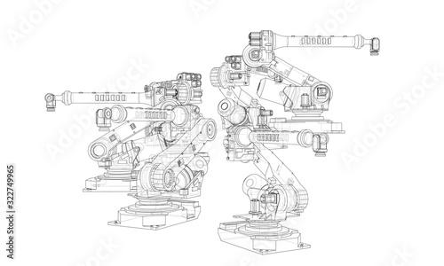 Fototapeta A industral robots manipulators obraz