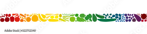 Colorful fruits and vegetables in a rainbow gradient colored row. Seamless extendable horizontal stripe. Isolated vector illustration on white background.