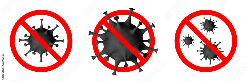 Fototapeta Covid-19, 2019-nCoV. Coronavirus covid 19, 2019 nCoV warning. Novel virus is crossed out with red STOP sign. Stop corona-virus pandemic medical concept with dangerous cells. Vector illustration