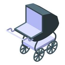Retro Baby Pram Icon. Isometri...
