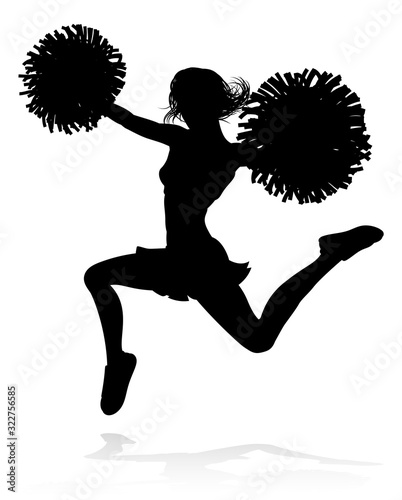 Cuadros en Lienzo Sports cheerleader in silhouette with pompoms