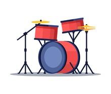 Bid Drum Set Red Color Crash B...