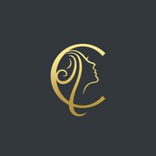 Letter C Beauty Face Logo Desi...