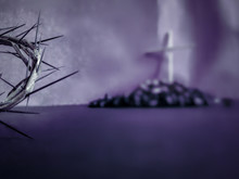 Lent Season,Holy Week And Good Friday Concepts - The Half Image Of Crown Of Thorns In Blurry Purple Vintage Background