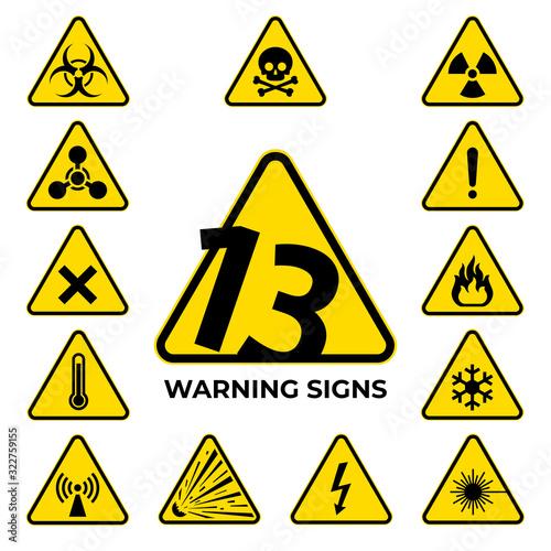 Obraz Set of hazard warning signs. 13 black yellow triangle warning safety and caution signs. Information security hazard vector symbol, icon. Baker's dozen. Vector illustration - fototapety do salonu
