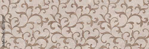 Valokuvatapetti Ornament pattern with beige marble stone texture, cement decorative design