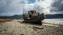 Wrecked Wooden Fishing Boat On...