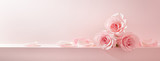 Pink rose petals set on pastel pink background