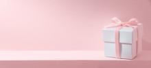 Gift Box On Pastel Pink Backgr...