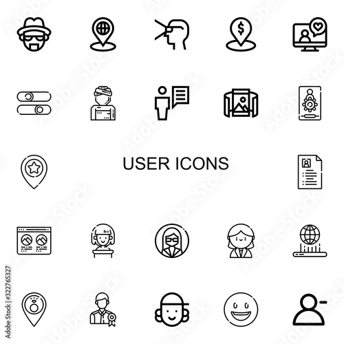 Editable 22 user icons for web and mobile Canvas Print